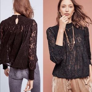 NWT Anthropology Deletta Lace Mock Neck Top